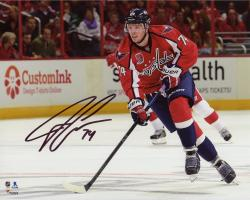"John Carlson Washington Capitals Autographed Skating With Puck 8"" x 10"" Photograph"