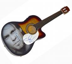 John Cougar Mellencamp Signed Airbrushed Acoustic Guitar AFTAL UACC RD COA