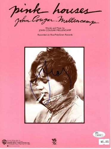 """JOHN COUGAR MELLENCAMP Signed Autographed """"Pink Houses"""" Sheet Music JSA #U52315"""