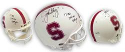 "John Elway Stanford Cardinal Autographed Schutt Pro Helmet with Inscriptions ""77 TDs, 774 Comp. 9349 yds"