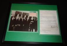 John F Kennedy Framed Facsimile Signed Letter & Celtics Champs Photo Display