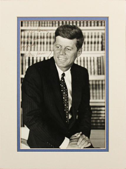 John F. Kennedy Inscribed Signed 8x10 Matted Photo BAS #AA13240