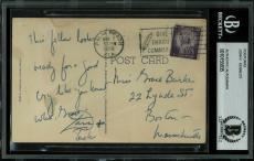 John F. Kennedy Signed 3.5x5.5 Postcard Postmarked Mar 7, 1955 BAS Slabbed