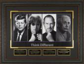 John F. Kennedy unsigned Think Different 25x34 4 Photo Engraved Signature Series Leather Framed (JFK) (Political/inventor)