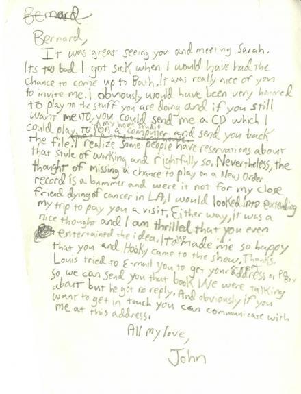 John Frusciante Hand Written Personal Letter RACC TS UACC RD AFTAL