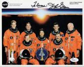 JOHN GLENN AUTOGRAPHED 8x10 PHOTO      AMAZING POSE STS-95 CREW   RARE       JSA