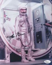 Autographed John Glenn Photograph - 8x10 COLOR AMAZING POSE IN SPACESUIT JSA