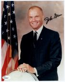 JOHN GLENN HAND SIGNED 8x10 COLOR PHOTO      RARE YOUNG NASA POSE      JSA