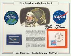JOHN GLENN HAND SIGNED 8x10 FIRST AMERICAN TO ORBIT EARTH STAMP PANEL.       JSA