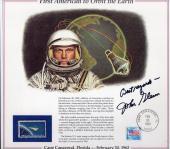 JOHN GLENN HAND SIGNED 9x10 FIRST AMERICAN TO ORBIT EARTH COMMEMORATIVE CARD JSA
