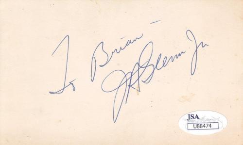 """JOHN GLENN JR. Signed """"To Brian""""  3X5 Index Card JSA U88474"""