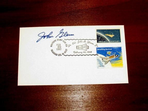 John Glenn  Mercury Atlas Nasa Astronaut Signed Auto 1987 Cachet Jsa Authentic