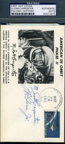 JOHN GLENN SCOTT CARPENTER Hand Signed PSA DNA Cert 1962 FDC Autograph Authentic