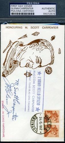 JOHN GLENN SCOTT CARPENTER Hand Signed PSA DNA Coa 1962 FDC Autograph Authentic