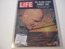 John Glenn Senator,astronaut Deceased Beckett/coa Signed Life Magazine