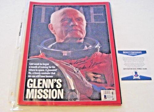John Glenn Senator,astronaut Deceased Beckett/coa Signed Time Magazine