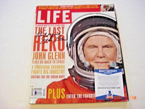 John Glenn Senator,usa Stronaut Beckett/coa Signed Life Magazine