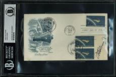 John Glenn Signed 1962 Mercury Project First Day Cover BAS Slabbed