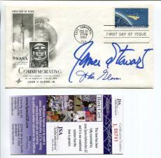 John Glenn+james Stewart Hand Signed Project Mercury First Day Cover       Jsa