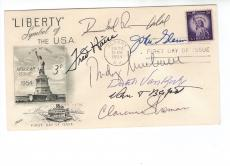 John Glenn+rumsfeld+fred Haise+dutch Van Kirk+3 Others Signed Fdc+coa     Rare