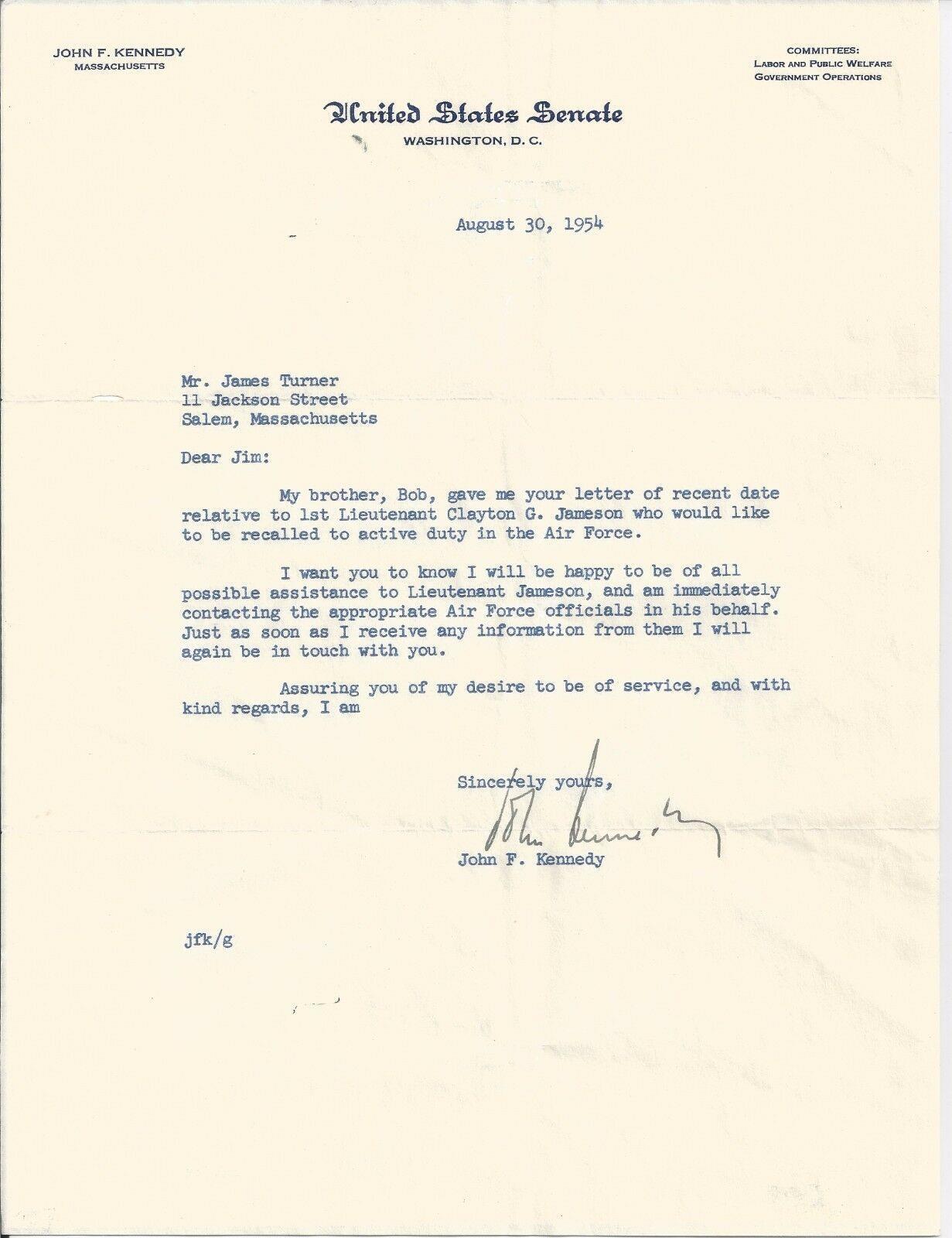 John Kennedy Jfk Signed 1954 Letter Psa Dna Certified Authentic
