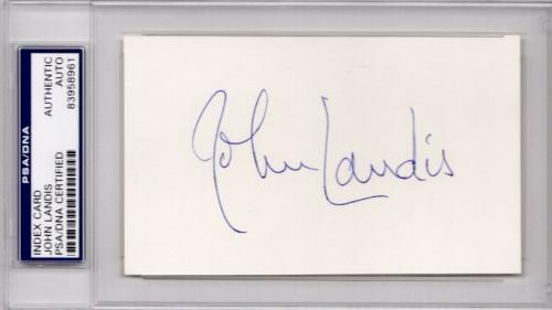John Landis Signed - Autographed 3x5 inch Index Card - Director, Screenwriter, and Producer - Animal House, Blues Brothers, Trading Places and Thriller - PSA/DNA Certificate of Authenticity (COA) - PSA Slabbed Holder