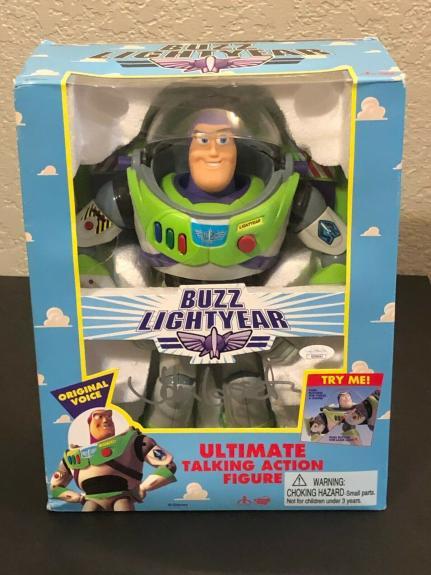 John Lasseter Disney Talkin Buzz Lightyear Toy Story Signed Autograph Figure JSA