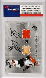 John LeClair Philadelphia Flyers Autographed 2001 Upper Deck SPX #HT-LECard with a Piece Of Game Used Jersey and Game Used Stick