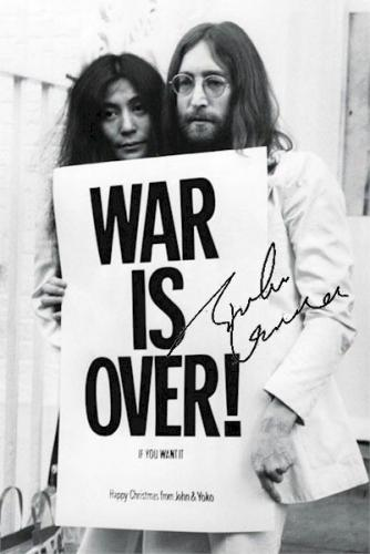 John Lennon Autographed Facsimile Signed Yoko Ono The War Is Over Poster