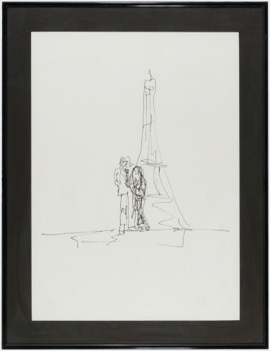 John Lennon Eiffel Tower Serigraph LE 161/300 ,  Signed by Yoko, Matted to Frame