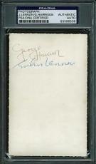 John Lennon & George Harrison Signed 3.5x5.5 Beatles Photo Psa Slabbed