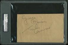 John Lennon & George Harrison Signed 4.25X7 Cut PSA/DNA Slabbed