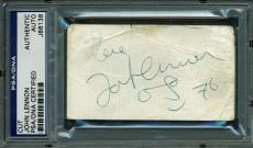 """John Lennon """"Love"""" Signed 2X3.5 Cut W/ Sketch W/ Cox Loa & PSA Slabbed"""