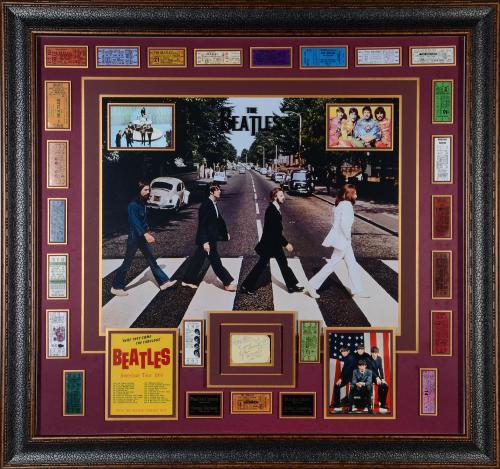 "John Lennon, Paul McCartney, George Harrison, & Ringo Starr Framed Autographed 48"" x 45"" Beatles Collage - PSA/DNA COA"