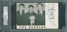 John Lennon & Paul Mccartney Signed 3.5x5.75 Beatles Cut Psa Slabbed