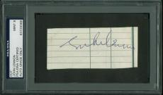 John Lennon Signed 1.75X4 Cut W/ Graded 9 Autograph PSA/DNA Slabbed