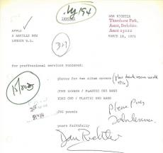 John Lennon Signed Authentic Autographed Sales Document PSA/DNA LOA Caiazzo