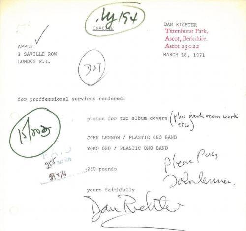 John Lennon/Dan Richter Signed Autographed Sales Invoice PSA/DNA LOA Caiazzo