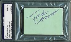 John Lennon Signed Autographed 2 x 3 Album Page PSA/DNA 9