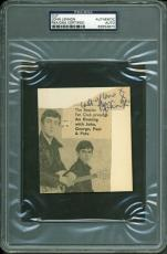 "John Lennon The Beatles Signed 3.75X4 Cut ""Lots Of Love From"" PSA/DNA Slabbed"