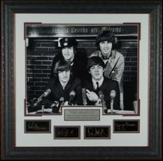 John Lennon unsigned The Beatles Engraved Signature Series Premium Leather Framed 29x29 Black & White Photo (entertainment)