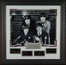 John Lennon unsigned The Beatles Engraved Signature Series Premium Leather Framed 29x29 Black & White Photo (entertainment)