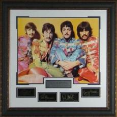 John Lennon unsigned The Beatles  Engraved Signature Series Premium Leather Framed 32x32 Sgt Peppers Photo (entertainment)