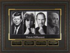 John Lennon unsigned Think Different 25x34 4 Photo Engraved Signature Series Leather Framed (entertainment)