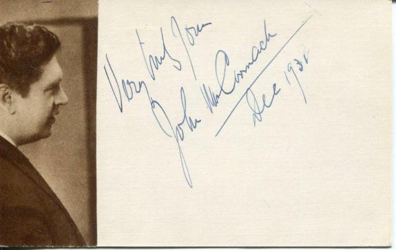 John McCormack Autograph Irish Tenor Opera Singer Signed Card Papal Knighthood