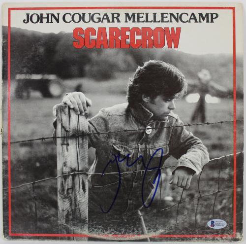 John Mellencamp Signed Scarecrow Album Cover W/ Vinyl BAS #E85414