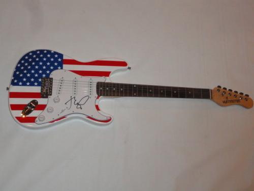 John Mellencamp Signed Usa Flag Electric Strat Guitar Cougar Legend Jsa Coa