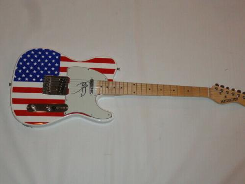 John Mellencamp Signed Usa Flag Electric Guitar Cougar Legend Proof Tele Jsa Coa
