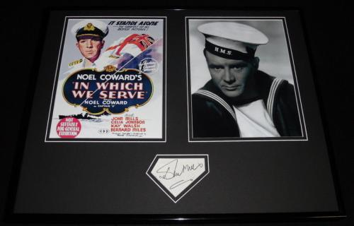 Autographed John Mills Photograph - Framed 16x20 Poster Set JSA In Which We Serve
