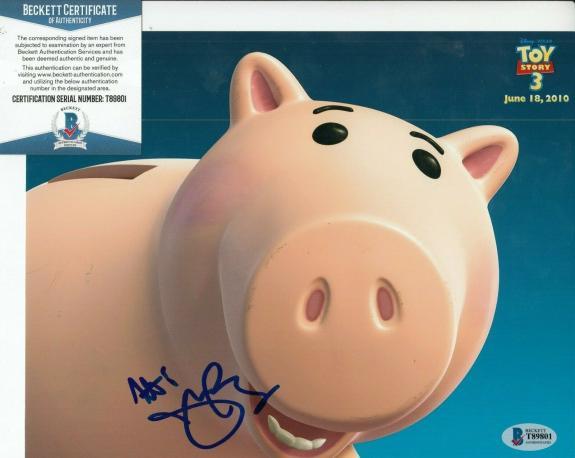 JOHN RATZENBERGER signed (TOY STORY) HAMM Movie 8X10 photo BECKETT BAS T89801